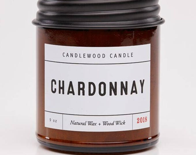 Featured listing image: CHARDONNAY - Natural Soy Wax Wine Candle with Black Lid 9 oz