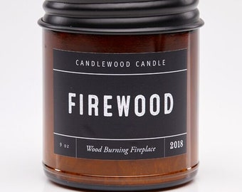 FIREWOOD - Crackling Wood Fire - Wood Burning Soy Wax Fireplace Candle  9 oz - Best Seller Since 2012 - Simply like no others..