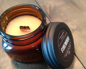 FIREWOOD - Crackling Wood Fire - Authentic Wood Burning Wood Wick Fireplace Candle  16 oz - Simply like no others!