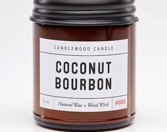 COCONUT BOURBON - Crackling Wood Fire - Pure Soy Wax Candle in Amber Jar with Black Lid 9 oz