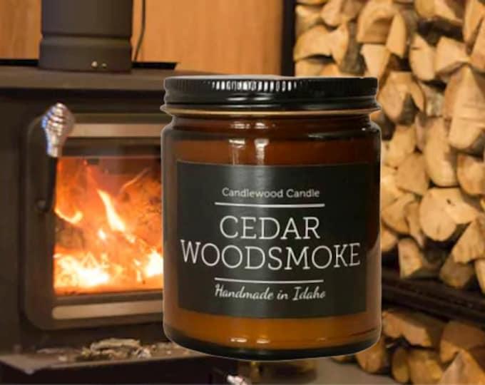 Featured listing image: CEDAR WOODSMOKE - Crackling Wood Fire Natural Soy Wax Candle in Amber Jar with Black Lid