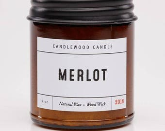MERLOT -  Natural Soy Wax Wine Candle with Black Lid 9 oz