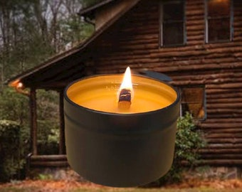 CABIN - Crackling Wood Fire Natural Soy Wax Travel Tin with Black Lid 5 oz