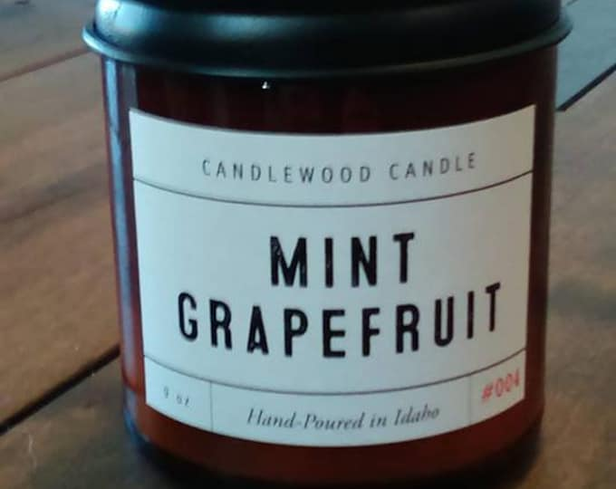 Featured listing image: Mint Grapefruit-  Crackling Wood Fire Natural Soy Wax Candle 9 oz with Black Lid