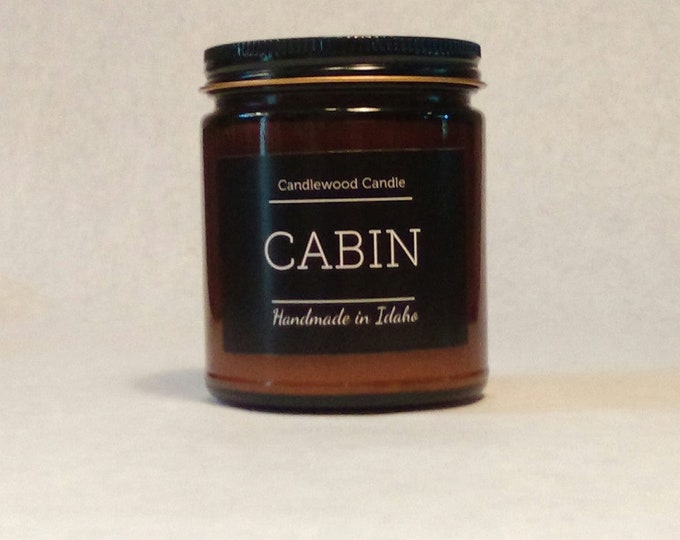 Featured listing image: CABIN -  Wood Fire - Natural Soy Wax Wood Wick Candle in Amber Jar with Black Lid 9 oz