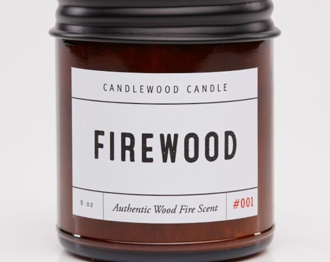 Featured listing image: FIREWOOD - Authentic Wood Fire Scent Cotton Wick Candle  9 oz - Simply like no others! Best Seller since 2012!