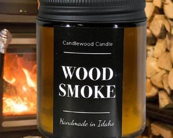 WOODSMOKE - Crackling Wood Fire Natural Soy Wax Candle with Black Lid