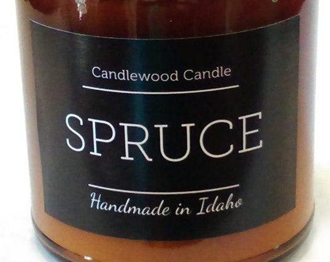 Featured listing image: SPRUCE - Crackling Wood Fire Natural Soy Wax Candle in Amber Jar with Black Lid
