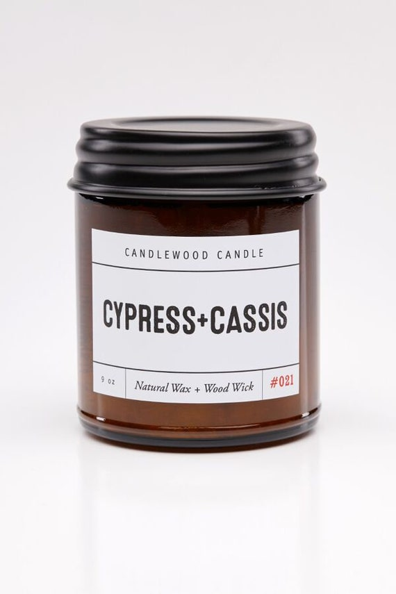 CYPRESS + CASSIS - Wood Fire - Natural Soy Wax Candle in Amber Jar with Black Lid 9 oz