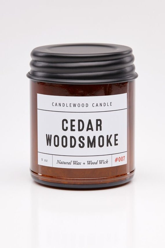 CEDAR WOODSMOKE - Wood Fire - Natural Soy Wax Candle in Amber Jar with Black Lid 9 oz