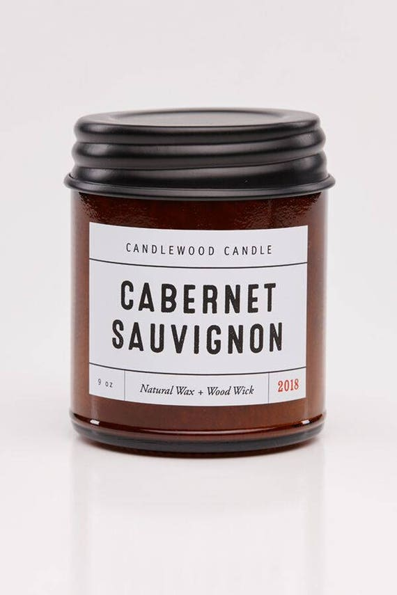 CABERNET SAUVIGNON - Wood Fire - Natural Soy Wax Wine Candle with Black Lid 9 oz