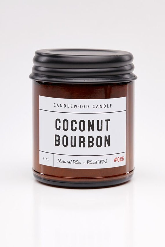 COCONUT BOURBON - Wood Fire - Natural Soy Wax Candle in Amber Jar with Black Lid 9 oz
