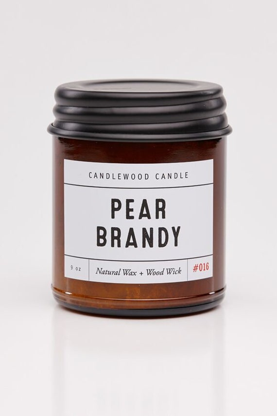 PEAR BRANDY - Wood  Fire - Natural Soy Wax Candle in Amber Jar with Black Lid 9 oz