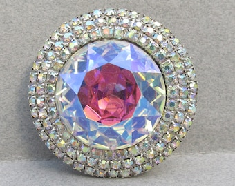 Vintage Signed WEISS Large AB Rhinestone Silver Brooch