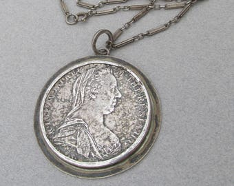 Antique 1780 Maria Theresa Silver Trade Coin Vintage Sterling Necklace