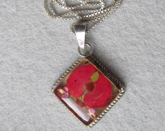 Vintage Sterling Silver Dried Flowers Pendant Necklace