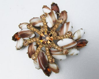 Verified Juliana Brooch in Pink and Gold Floral Bouquet Motif