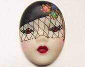 Signed Adagio Vintage Painted Rhinestone Veiled Flapper Face Pin, FREE Ship