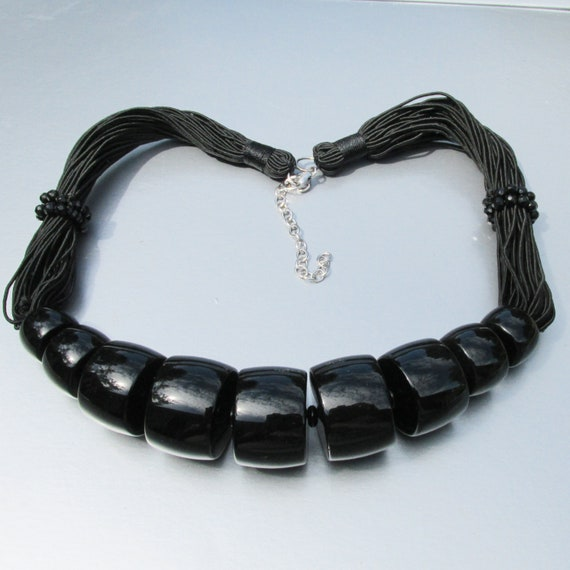 Spectacular Vintage Big Black Onyx Collar Necklace