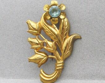 1940's Retro Aqua Rhinestone Long-Stemmed Flower Pin