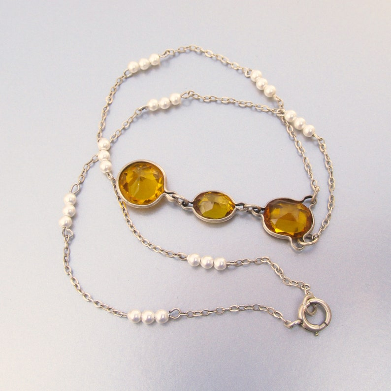 Citrine /& Faux Pearl Flapper Y Necklace Pretty 1920/'s Sterling Silver