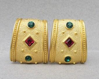 Signed MONET Vintage 1980's Moghul Jewels India Rhinestone Earrings