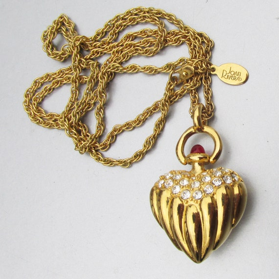Joan Rivers Gold Puffy Heart Rhinestone Vintage 19