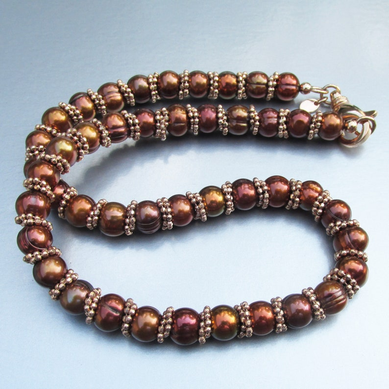 Signed HONORA Bronze Cultured Pearl Necklace MIB!