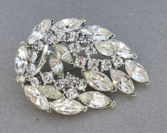 Signed WEISS Vintage Crystal Rhinestone LEAF Pin