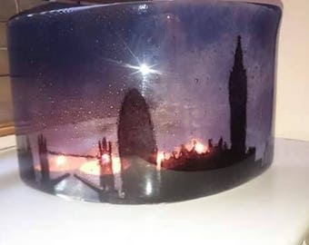 Fused Glass London Night scene Arch