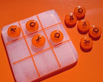 Fused Glass Noughts and Crosses Board