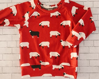 Rib knit pullover, choose your print