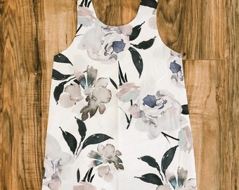 Large gray floral A Line dress, choose sleeve length
