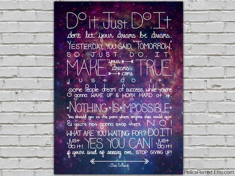 Do It Shia LaBeouf Intense Motivational Speech Quote Poster image 0