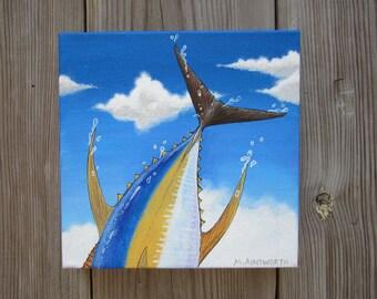 original, yellow fin tuna, fish, acrylic painting