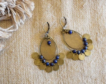 Medal ring and beads earrings