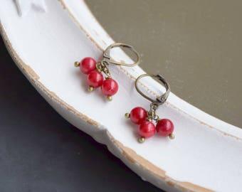 Short earrings 3 pearls on sleeper brass bronze
