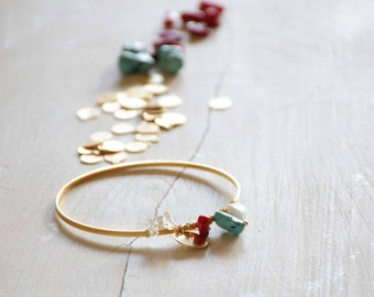Golden gemstones Bangle Bracelet