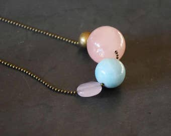 Candy stones on thin brass chain necklace