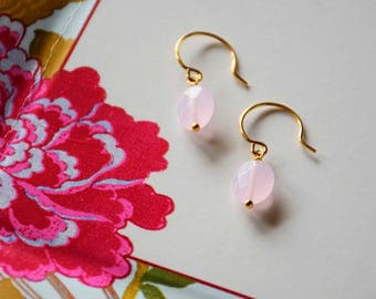 Gemstone and gold plated short earrings