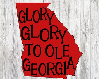 UGA Glory Vinyl Decal  Iron On Decal Sticky Vinyl Decal  UGA shirt   University Of Georgia Decal  UGA Decal dd9449a240d
