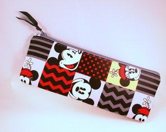 Pencil Bag Mickey Minnie Supply Organizer Zipper Pouch Paint Brush Bag School Pencil Bag Bag for Pens, Colored Pencil Case