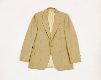 Sz 40R USA. LANVIN Beige Two Button Sportcoat with Gold Tone Buttons