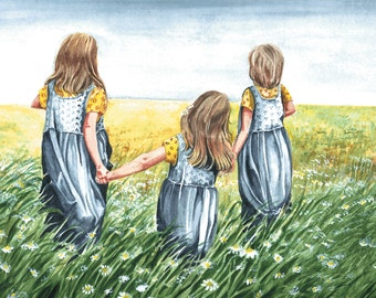 Watercolor print from my original painting of 3 sisters