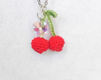 Cherry Love Crochet Necklace