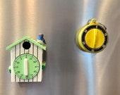 Two Vintage Kitchen Timers-Refrigerator Magnet Egg Timer-Cuckoo Clock