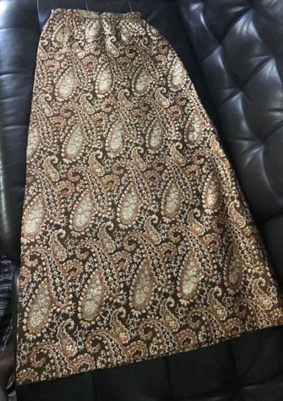 Vintage Metallic Gold Maxi Skirt 1980\u2019s Deadstock NWT Gold Skirt 80\u2019s Bright Gold Shiny Maxi Skirt