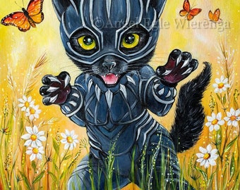 """Prints & CANVASES, """"Kitty Panther"""", black cat, Wakanda, cat art by Angel Egle Wierenga (please read """"Item details"""" in Description)"""