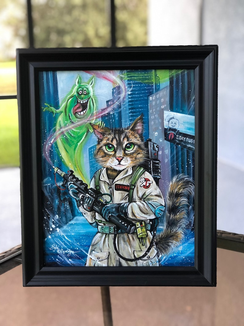 ORIGINAL PAINTING Ghostbuster Cat   Egle image 0