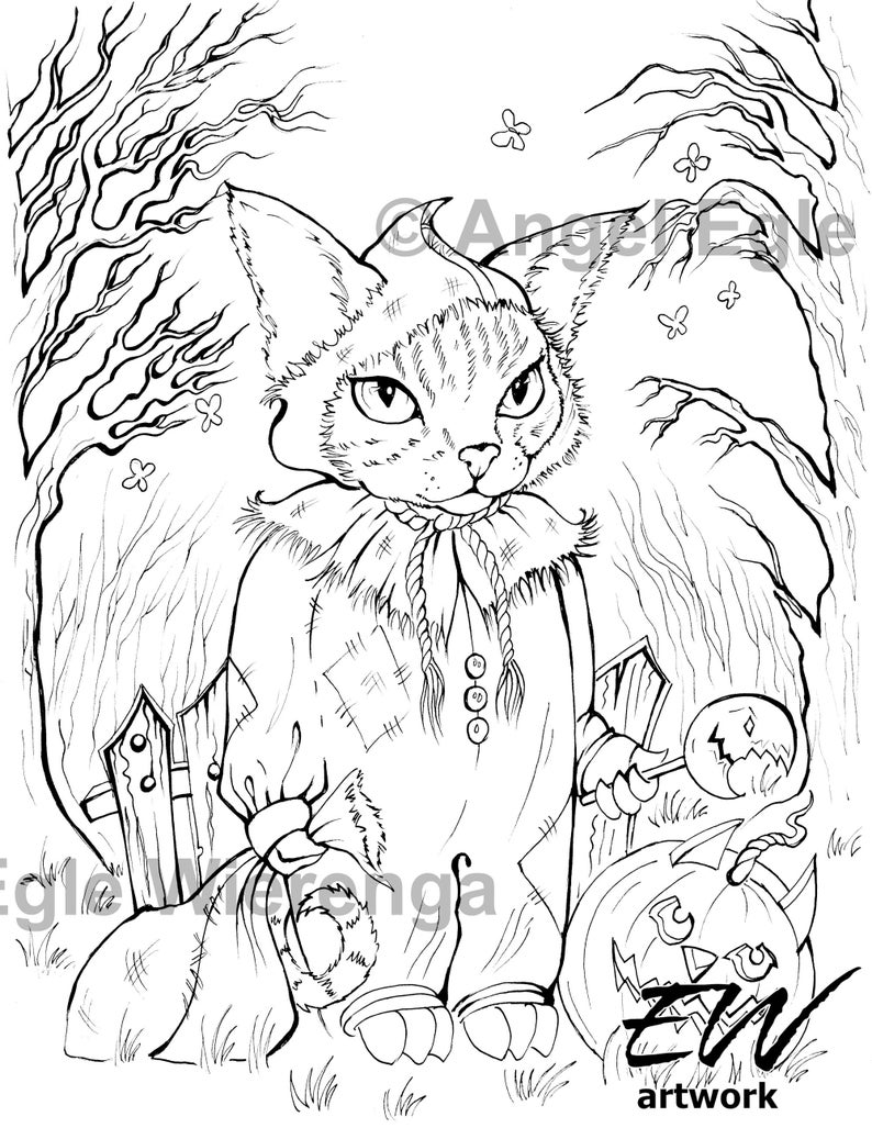 Tricky Kitty  'Download & Print' Coloring Page image 0
